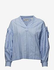 Scotch & Soda - V-neck cotton top - pitkähihaiset t-paidat - sky blue - 0