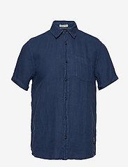 Scotch & Soda - REGULAR FIT- Garment-dyed linen shortsleeve shirt - basic skjorter - denim blue - 0