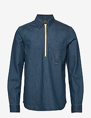 Scotch & Soda - Lot 22 popover denim worker shirt with contrast zipper - podstawowe koszulki - indigo - 0