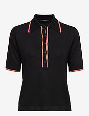 Scotch & Soda - Drapy knitted polo with sporty ribs - pikeepaidat - black - 0