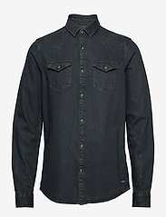Scotch & Soda - Ams Blauw denim western shirt in seasonal washes - basic skjorter - black - 0