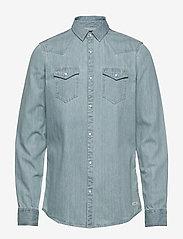 Scotch & Soda - Ams Blauw denim western shirt in seasonal washes - chemises basiques - bleached indigo - 0