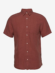 Scotch & Soda - REGULAR FIT- Shortsleeve garment -dyed linen shirt - basic skjorter - cinnabar - 0