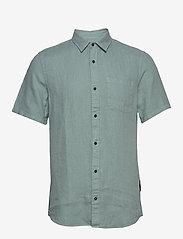 Scotch & Soda - REGULAR FIT- Shortsleeve garment -dyed linen shirt - basic skjorter - emerald - 0