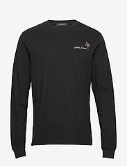 Scotch & Soda - Longsleeve crewneck tee with artworks - basic t-shirts - black - 0