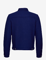Scotch & Soda - Trucker jacket in boiled wool with chest badge - wool jackets - yinmin blue - 1