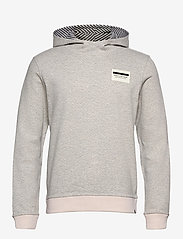 Scotch & Soda - Reversible hooded sweat with chest print - basic sweatshirts - grey melange - 0