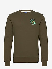 Scotch & Soda - Crewneck with chest embroidery - basic sweatshirts - military green - 0