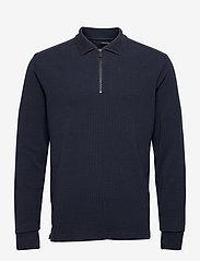 Scotch & Soda - Longsleeve knitted polo - half zip - midnight - 0