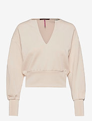 Scotch & Soda - Soft sweat with open neck and volumnious sleeves - crop tops - ecru - 0