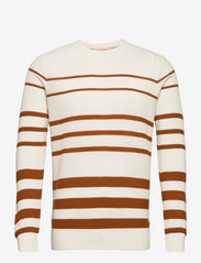 Organic cotton crewneck pull in structured knit - COMBO A