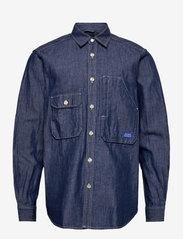 Scotch & Soda - Ams Blauw  organic cotton and linen workwear overshirt - kleding - indigo - 0