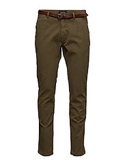 Slim fit cotton/elastan garment dyed chino pant - MILITARY