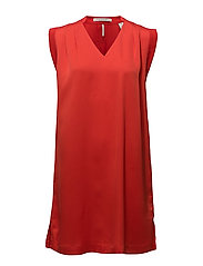 Sleeveless silky dress - POPPY RED
