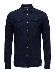 Ams Blauw western shirt regular fit - INDIGO