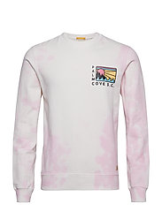Bright crewneck sweat with special washing and artworks - COMBO A