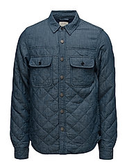 Home Alone quilted indigo shirt jacket - WASHED INDIGO