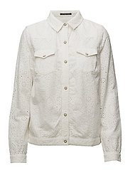 Broderie shirt jacket - OFF WHITE