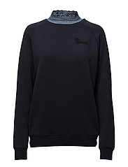 Super soft sweat with woven collar - 57 NAVY
