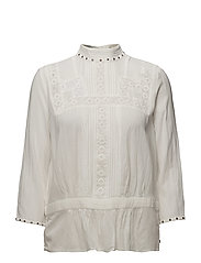 Embroidered top with small studs in neckline - 3 OFF WHITE
