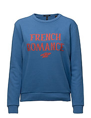 Clean crew neck sweat with various artworks - MIRAGE BLUE