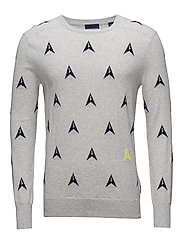 Crew neck knit in seasonal intarsia artworks regular fit - COMBO C