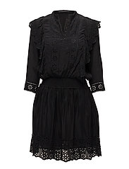 Broderie and ruffle dress - BLACK
