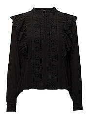 Feminine top with embroidery - BLACK