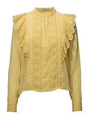 Feminine top with embroidery - CHEDDAR