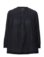 Woven top with subtle embroidery - NIGHT