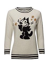Ams Blauw Felix the cat pullover - ECRU MELANGE