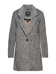 Bonded wool jacket in checks and solids - GREY MELANGE