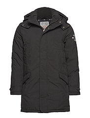 Lightweight padded long parka jacket - BLACK