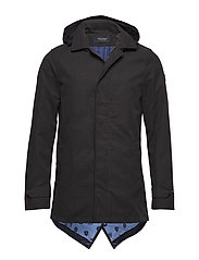 Classic parka jacket with fixed inner body warmer - BLACK