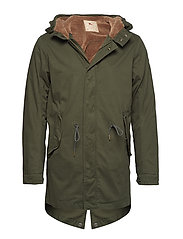 Classic hooded parka with teddy lining - PINE