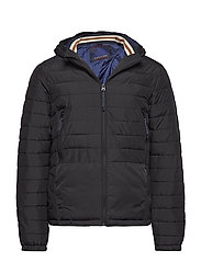 Short quilted nylon jacket with detachable hood - BLACK