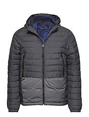 Short quilted nylon jacket with detachable hood - BLACK MELANGE