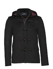 Classic short toggle coat in bonded wool quality - BLACK