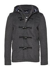 Classic short toggle coat in bonded wool quality - GREY MELANGE