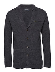 Knitted blazer in boiled wool quality - CHARCOAL MELANGE
