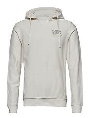 Clean hoodie in twill-structured felpa quality - POWDER SNOW