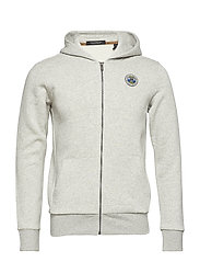 Classic zip-thru hoodie with chest badge - GREY MELANGE