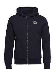 Classic zip-thru hoodie with chest badge - NIGHT MELANGE