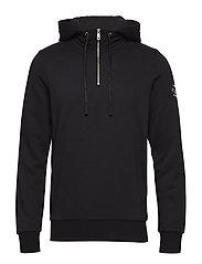 Felpa hoodie with extra rib collar - BLACK