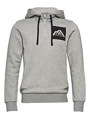 Felpa hoodie with extra rib collar - GREY MELANGE