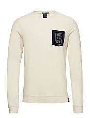 Longsleeve tee in twill structured jersey quality with chest - SAND MELANGE
