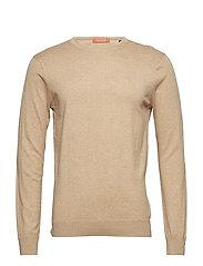 Classic cotton melange crewneck pullover - CAMEL MELANGE