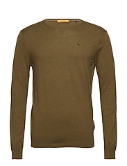 Classic cotton melange crewneck pullover - MILITARY MELANGE