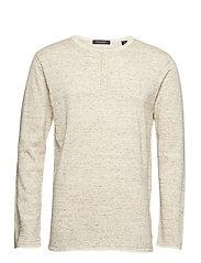 Grandad pullover with contrast inside colour - SAND MELANGE