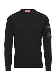 Crewneck pullover with pintuck seams and sleeve patch - BLACK